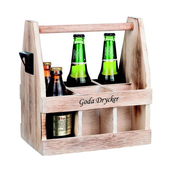 Flaschenträger GODA DRYCKER aus Holz mit Flaschenöffner und schwedischer Beschriftung
