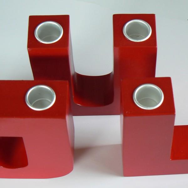 3-teiliger Leuchter mit 4 Metallhülsen für 4 Kerzen
