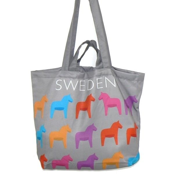 Einkaufstasche / Einkaufsbeutel Dalarna grau mit bunten Dalapferden