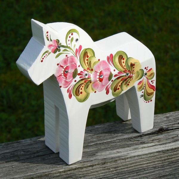 """Dalapferd 13 cm """"Bling"""" weiß rosa mit Swarovski-Steinen"""