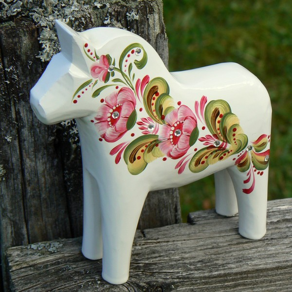 Dalapferd 13 cm Bling geschnitzt weiß rosa mit Swarovski-Steinen