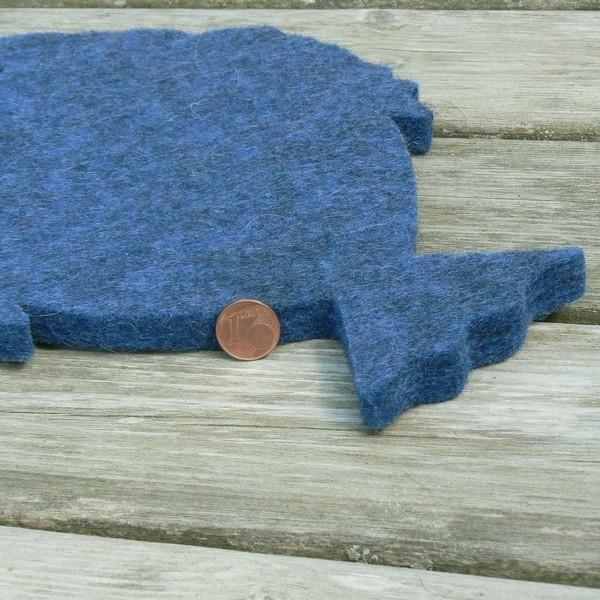 Maritimer Wollfilz Untersetzer Fisch dunkelblau meliert