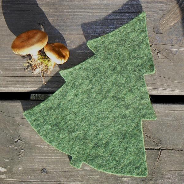 Herbst: Topfuntersetzer Tanne grün meliert
