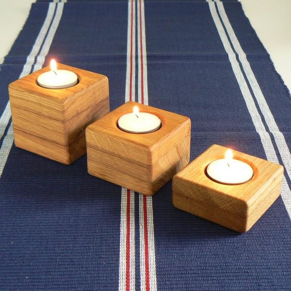Teelichthalter aus Eichenholz 3er Set