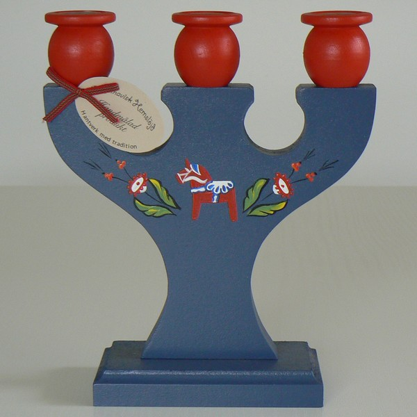 Kerzenleuchter Dalapferd blau handbemalt Vorderseite