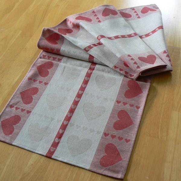 Tischläufer Herzen Halbleinen 120 x 35 cm natur rot