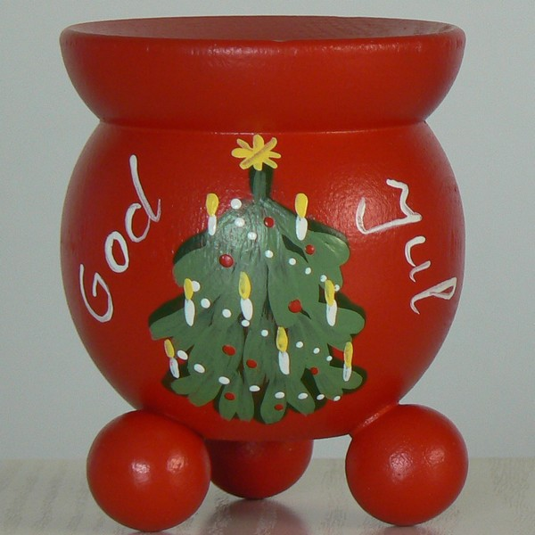 Weihnachten und Advent: schwedischer Kerzenleuchter handbemalt God Jul