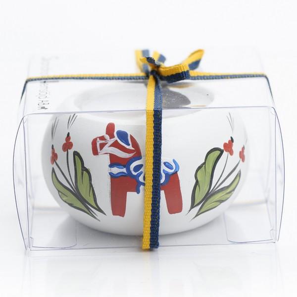 """Skandinavisches Kunsthandwerk: Teelichthalter """"Dalapferd"""" weiß handbemalt"""