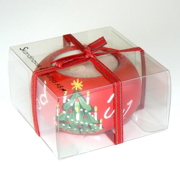 """Teelichthalter """"God Jul"""" rot handbemalt"""