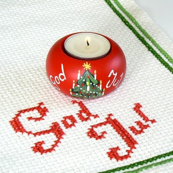 """Teelichthalter """"God Jul"""" rot mit Tannenbaum handbemalt"""