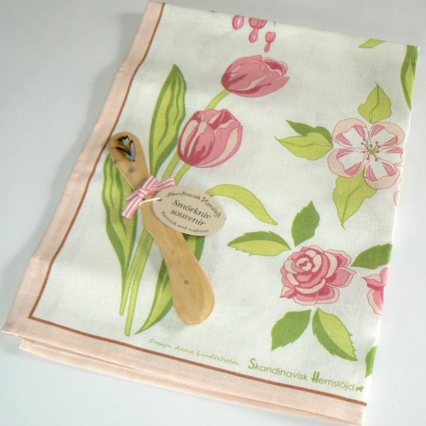 Geschirrtuch Halbleinen mit rosa Blumen Design Anna Linderholm