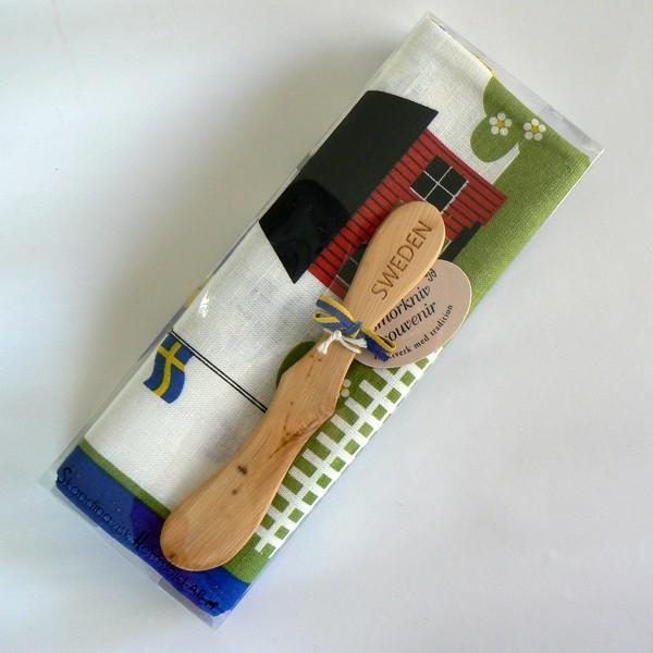 Geschenkpackung Geschirrtuch und Buttermesser Schwedensymbole
