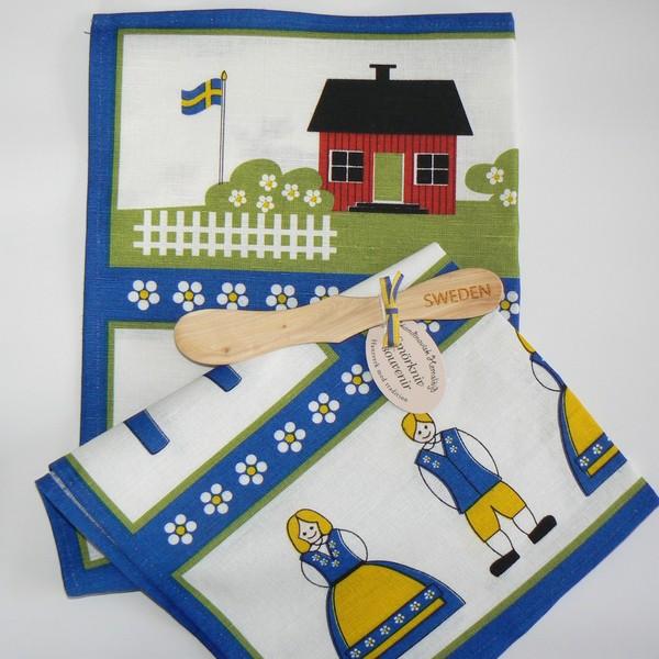 Halbleinengeschirrtuch und Buttermesser Schweden