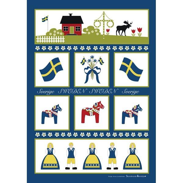 Halbleinen-Geschirrtuch Schwedensymbole