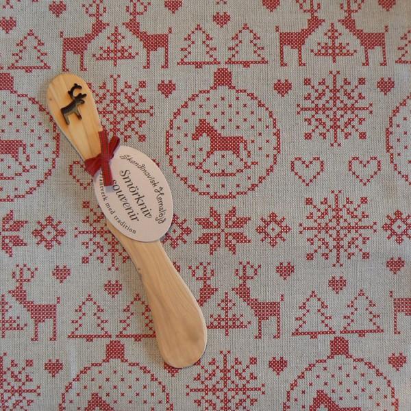 Halbleinen Geschirrtuch und Buttermesser Weihnachtsmotive