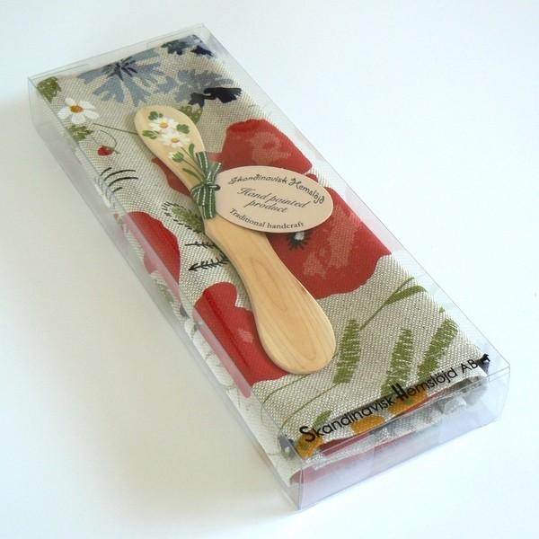 Halbleinen Geschirrtuch und Buttermesser Sommerwiese in Geschenkverpackung