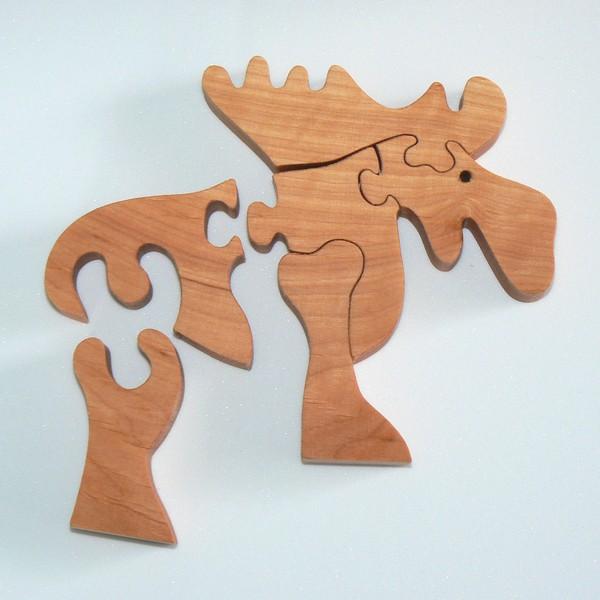 Urlaubs Mitbringsel aus Schweden Puzzle Elch aus Holz