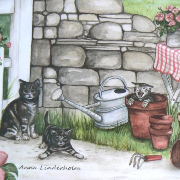 Rechteckiges Tablett Rosengarten Katzen