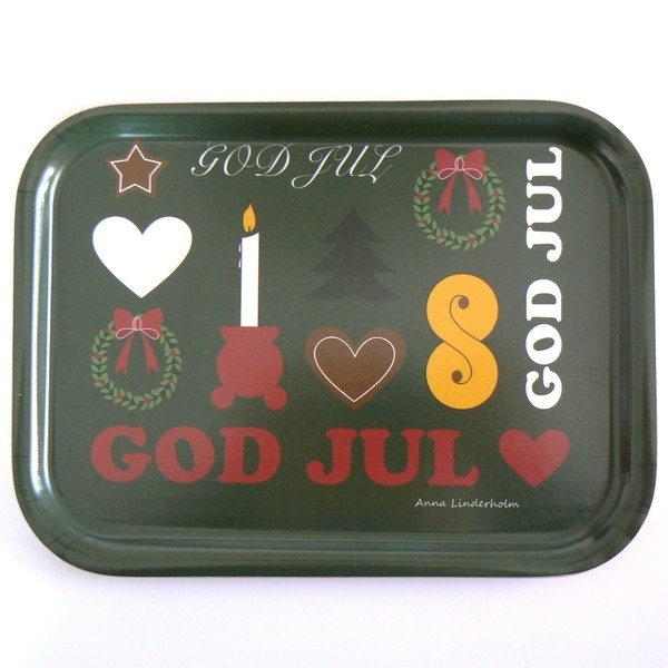 "Birkenfurnier Tablett eckig 27x20cm ""God Jul"""
