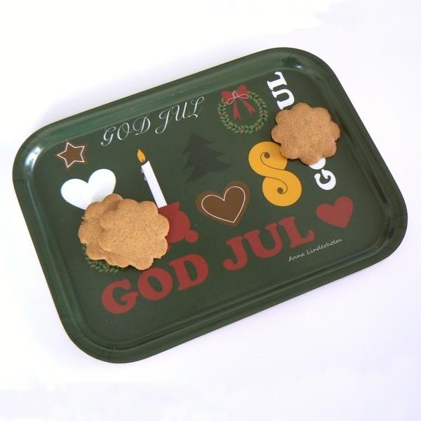 """Weihnachtstablett """"God Jul"""" olivgrün"""