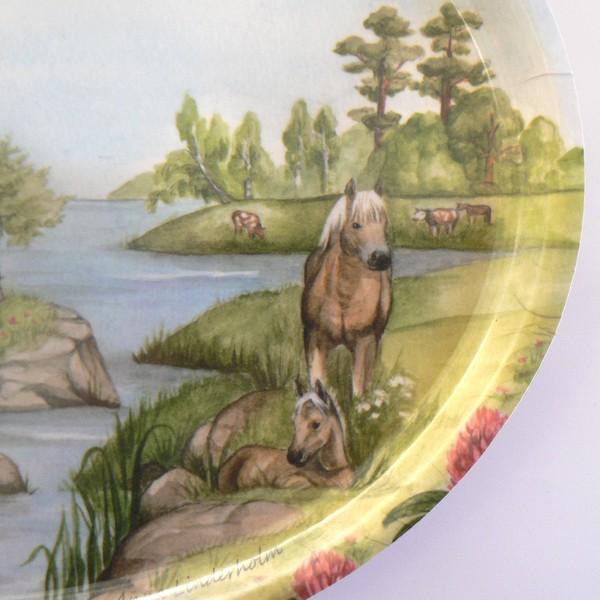 "Tablett oval 33x25cm  ""Sommer in Schweden"" Pferde"