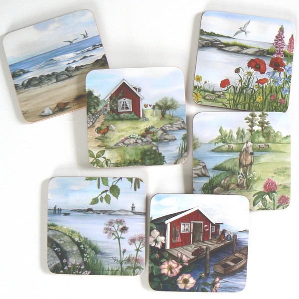 """Glasuntersetzer """"Sommer in Schweden"""" Design: Anna Linderholm"""