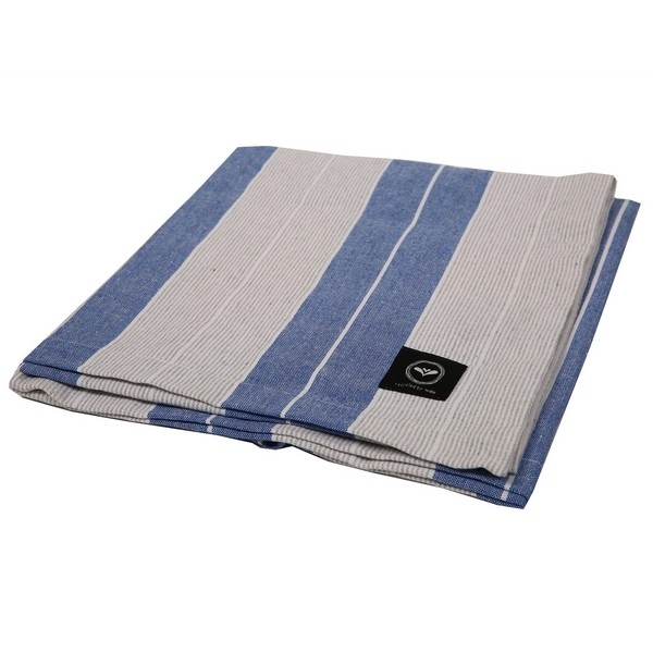 Tischdecke Grythyttan blau grau Streifen recycelt