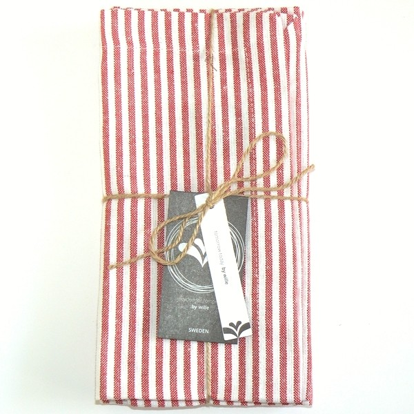 Baumwollserviette rot weiß gestreift recycelt 2er Set