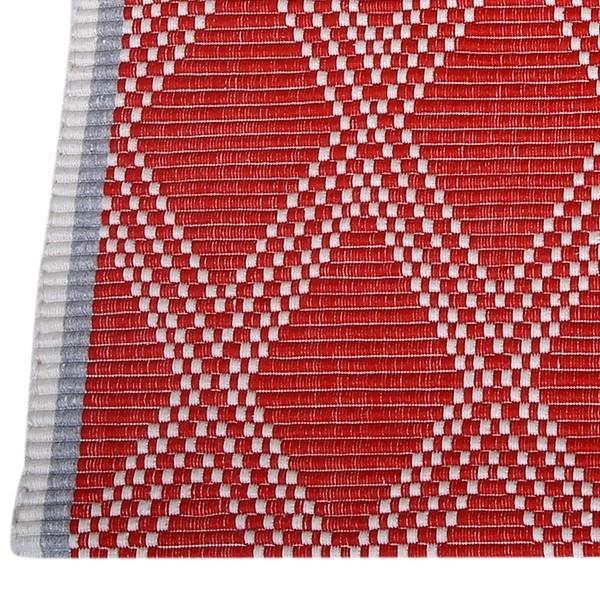 Webteppich rot mit Rautenmuster Baumwolle recycelt
