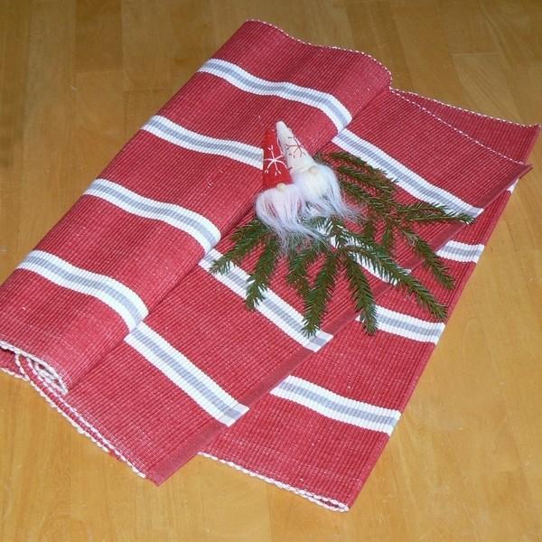 Skandinavische Weihnacht: Tischläufer 140x45 cm rot weiß grau gestreift recycelt