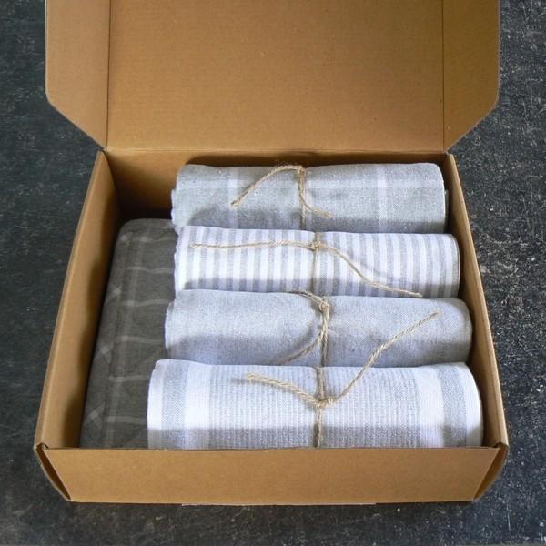 Küchentextil Geschenk Karton hellgrau recycelt