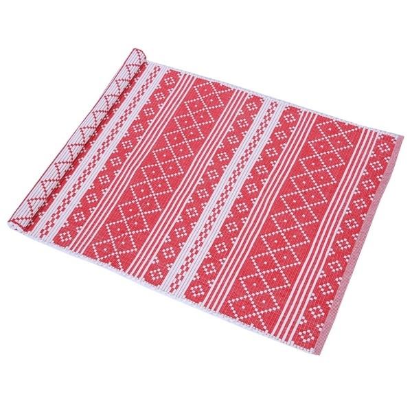 Teppich Erik rot beige 70x160 cm Baumwolle recycelt