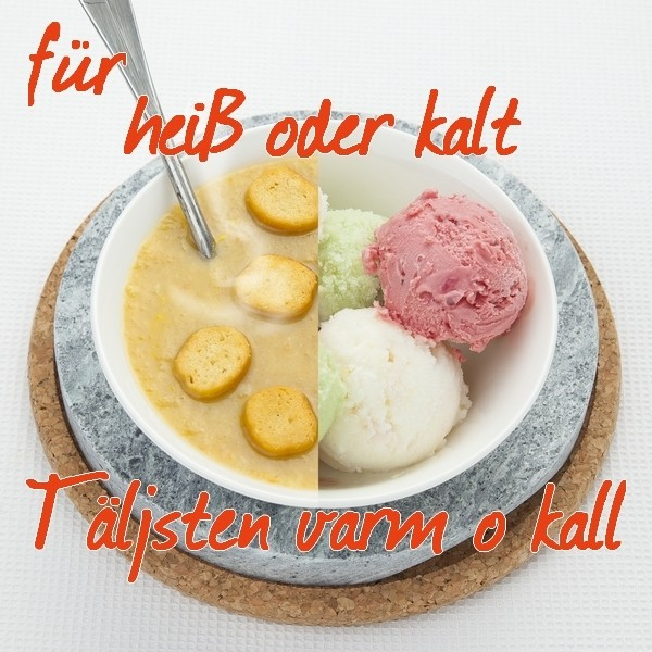Täljsten Varm o Kall Speckstein mit Korkuntersetzer