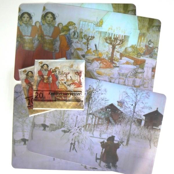 4 Tischsets Carl Larsson God Jul mit 40 Servietten