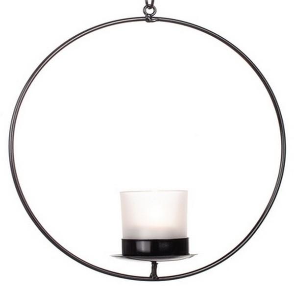 Schwarzer Ringleuchter aus Metall mit Glaseinsatz für ein Teelicht