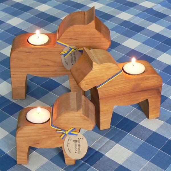 3 Teelichthalter Dalapferd aus Erlenholz