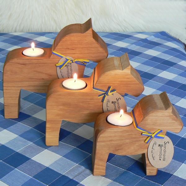 3 Teelichthalter Dalapferd skandinavisches Kunsthandwerk