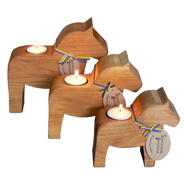 3 Teelichthalter Dalapferd aus Erlen Holz