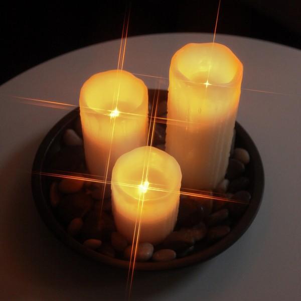 LED-Leuchtkerzen (3er-Set) mit Echtwachs, flackernd