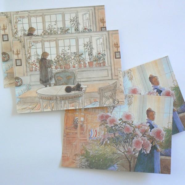 4 Schwedische Ansichtskarten Carl Larsson: das Blumenfenster und Karin mit Azalee