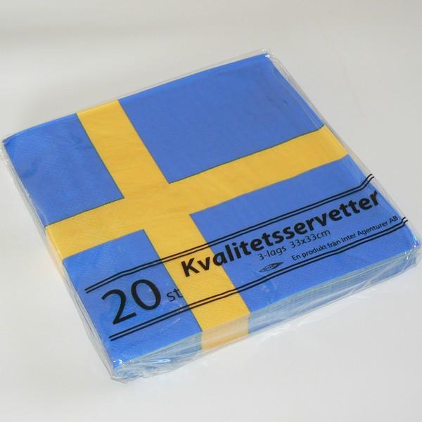 20 Papier Servietten (3-lagig, 33 x 33 cm) mit Schweden Flagge