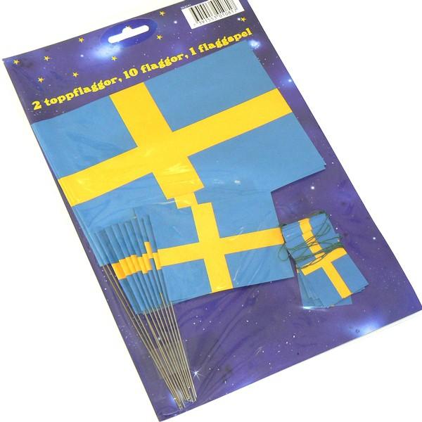 Große und mittlere schwedische Papier Flaggen und eine schwedische Flaggengirlande