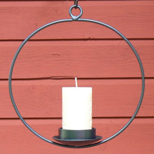 Schwarzer runder Hängeleuchter für eine Stumpen Kerze mit Wandhalter