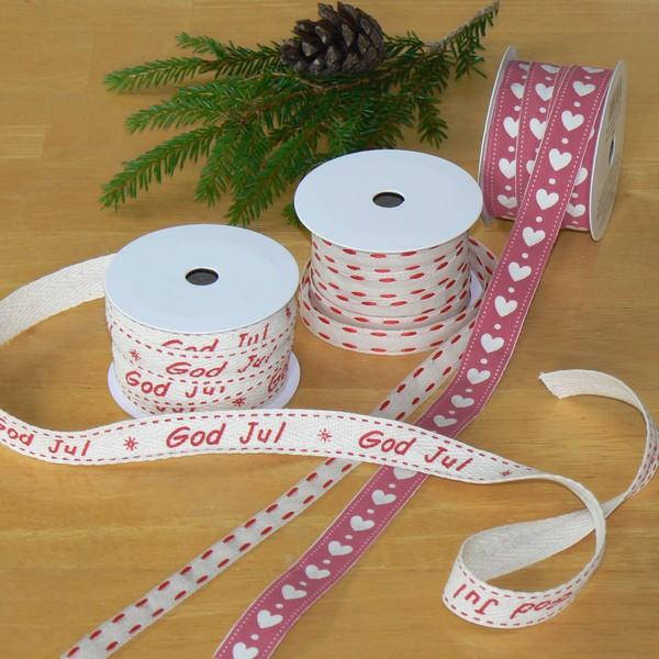 Schwedisches Weihnachts-Geschenkband 3x3 Meter mit Herzen und God Jul