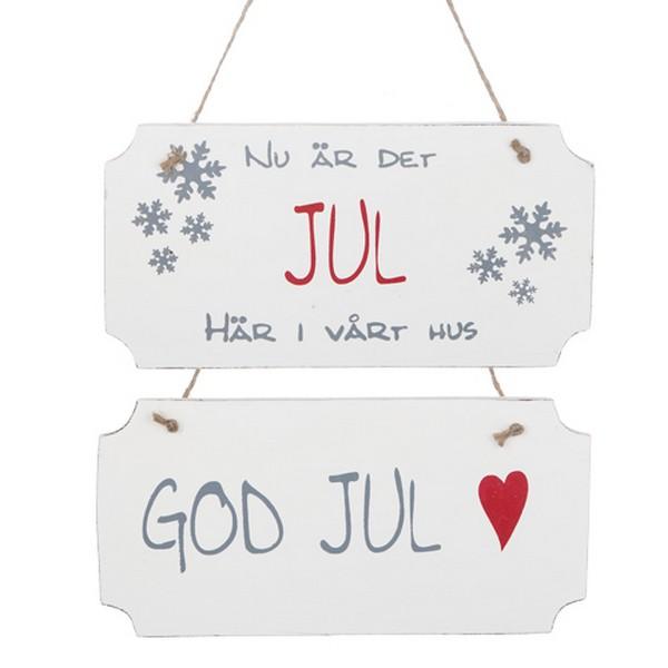Holzschilder mit schwedischem Weihnachtstext 2er-Set