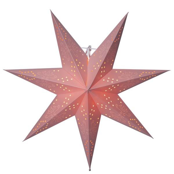 Romantischer altrosa Leuchtstern zum Hängen aus Papier mit feinem Lochmuster