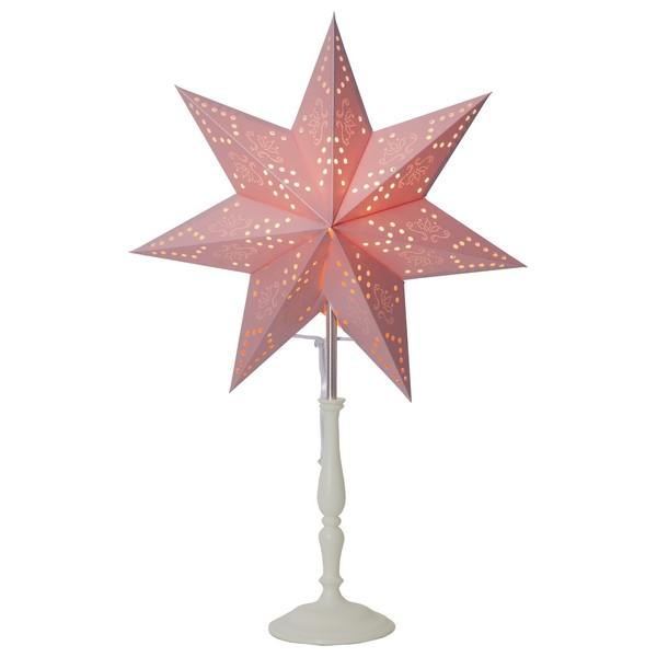 Romantische Standleuchte mit rosa Papier-Stern und weißem Holzfuß