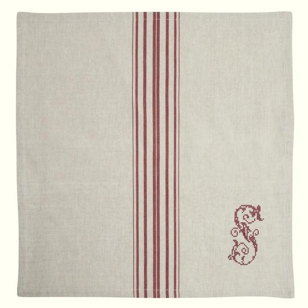"""Serviette """"Landhaus"""" natur rot bestickt 2er Set aus Baumwolle"""