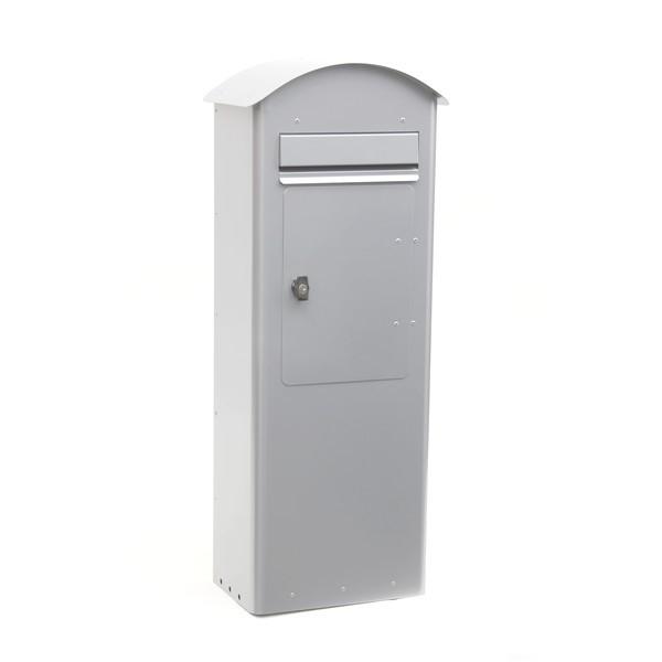 Grauer schwedischer Standbriefkasten Safepost 70-5 Combi silbergrau