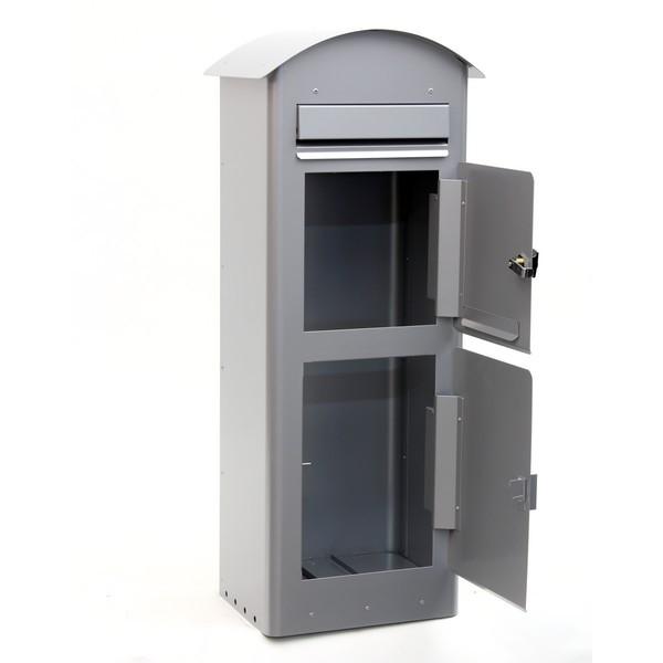 Grauer schwedischer Standbriefkasten Safepost 80 silbergrau mit Paketfach